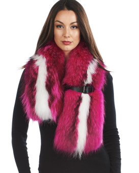 Kendal Fuchsia Finn Raccoon Collar with Leather Buckle