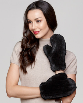 Kenna Knit Rabbit Fur Mitts in Black