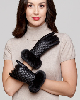 Kenora Diamond Quilt Leather Glove with Black Rex Rabbit Cuff