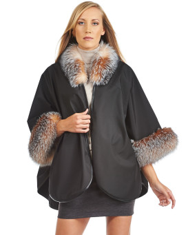 Khia Soft Shell Cape with Crystal Fox Fur Trim