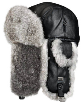 Kids Leather Rabbit Fur Aviator Hat