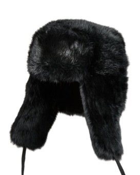 Kids Rabbit Full Fur Russian Ushanka Hat in Black