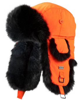 Kids Blaze Orange with Black Rabbit Fur Aviator Hat
