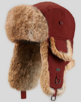 Kids Cherry Red mit Natural Brown Rabbit Fur Fliegermütze