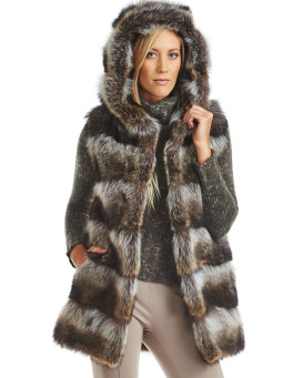 Kimberley Layered Raccoon Fur Vest with Hood