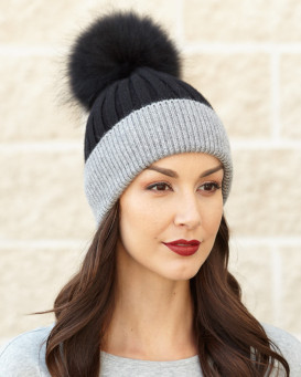 Kinley Knit Beanie Hat with Finn Raccoon Pom Pom in Black/Grey
