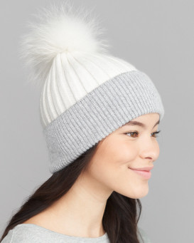 Kinley Knit Beanie Hat with Finn Raccoon Pom Pom in White/Grey