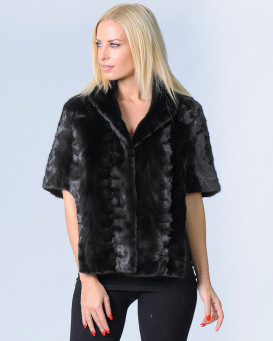 Kinslee Black Mink Fur Short Sleeve Bolero