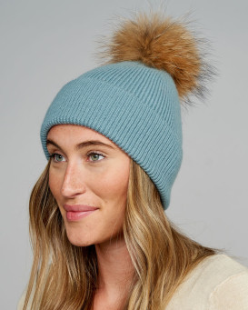 Nakita Beanie Hat with Finn Raccoon Pom Pom in Teal