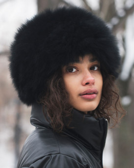 Eclipse Knit Fox Fur Hat in Black