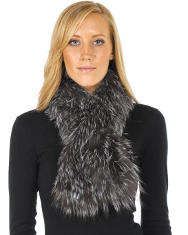 Teresa Knit Fox Fur Pull Through Scarf in Silver Indigo