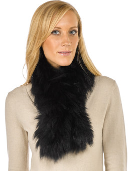 Teresa Knit Fox Fur Pull Through Scarf in Jet Black
