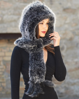 Stacy Black Frost Knit Fox Fur Scarf with Hood