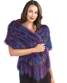 Knit Mia Silver Fox Fur Scarf Shawl in Majesty