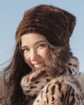 Ellie Knit Mink Beanie Hat with Beads in Brown