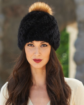 Ciara Knit Mink Beanie with Fox Pom Pom in Black