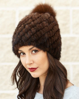 Ciara Knit Mink Beanie with Fox Pom Pom in Brown