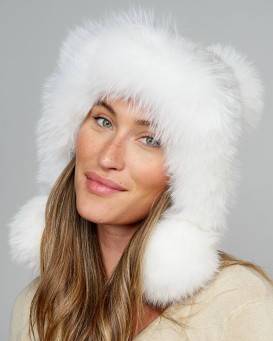 Tess Mink Hood Hat with Fox Trim & Pom Poms in White