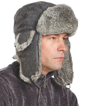 Knit Rabbit Fur Aviator Hat with Grey Rabbit Fur
