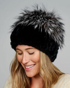 Sloan Knit Rex Rabbit Fur Hat with Silver Fox Fur