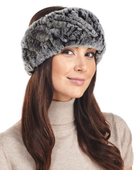 8716f36053e Knit Rex Rabbit Fur Headband in Black Frost