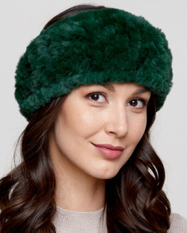 Knit Rex Rabbit Fur Headband in Emerald