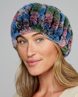 Knit Rex Rabbit Fur Headband in Multicolor