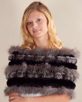 Knitted Fox and Rex Rabbit Fur Shawl