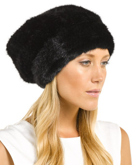 Mya Black Knitted Mink Beanie Hat with Elastic Band