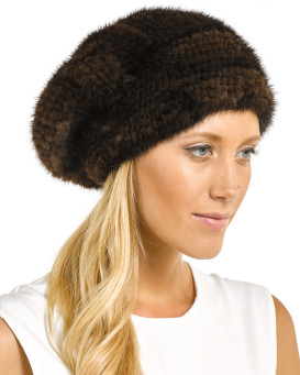 Mya Brown Knitted Mink Beanie Hat with Elastic Band