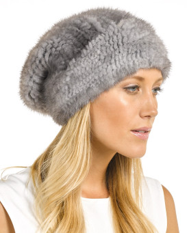 Mya Grey Knitted Mink Beanie Hat with Elastic Band