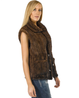 The Cassie Knitted Mink Fur Vest with Pockets in Brown