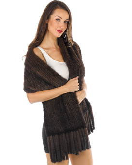 Tessa Knitted Mink Pull Through Fringe Shawl in Mahogany