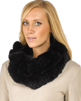 The Nadia Black Knitted Mink Cowl