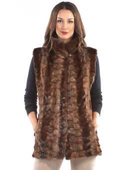 Kora Sectioned Mink Fur Vest in Mahogany