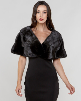 Kristal Black Tri-Tier Long Hair Mink Fur Capelet