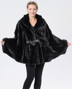Kyla Black Mink Cape with Hood