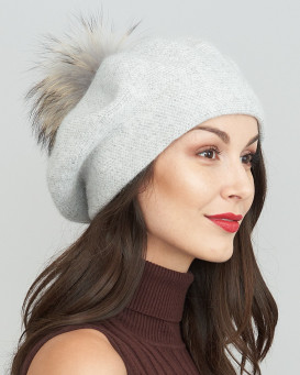 Faith Beret with Finn Raccoon Pom Pom in Light Grey