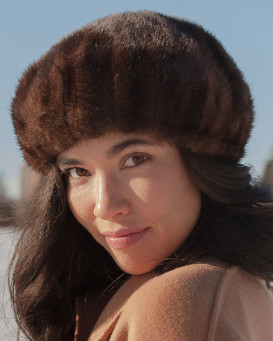 Kate Mahogany Ladies Mink Beret Hat