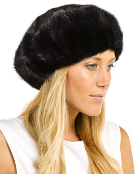 Kate Black Ladies Mink Beret Hat