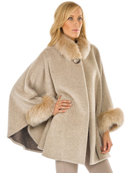 London Alpaca Cape with Fox Fur Collar and Cuffs in Camel