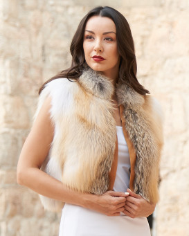 Laila Golden Fox Fur Vest with Leather Shawl Lapel