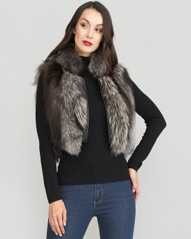 Laila Silver Fox Fur Vest with Leather Shawl Lapel