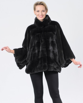 Lainey Black Mink Coat with Bell Bottom Sleeves