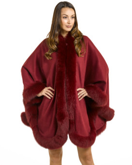 Classic Cashmere Cape with Fox Fur Trim in Burgundy
