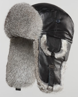 Black Leather Rabbit Fur Aviator Hat for Men