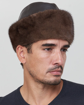 Leather and Mink Fur Cossack Hat in Mahogany for Men