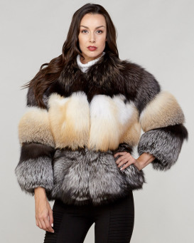 Leia Fox Fur Bubble Layer Coat in Tri Color
