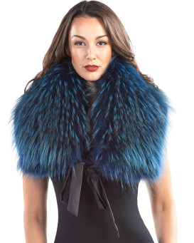 Leighton Finn Raccoon Fur Stole in Ocean