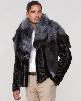 Gary Mink Fur Men's Biker Jacket with Fox Fur Collar